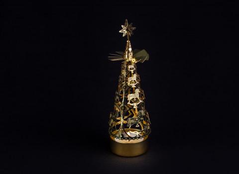 Manège à bougie personnalisé en métal, finition or, représentant un sapin de Noël