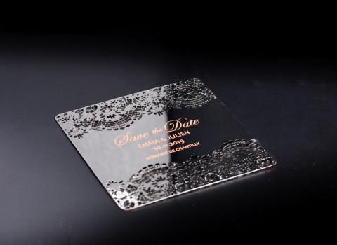 Fabrication de faire-part de mariage luxe et original personnalisé en métal