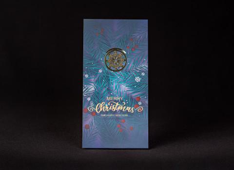 Trombone personnalisé en métal, livré sur une carte de voeux de fin d'année