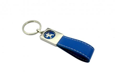 Ref IMPPOR02 - Porte clé luxe personnalisé en cuir, comprenant un travail du logo en métal et émaillage posé